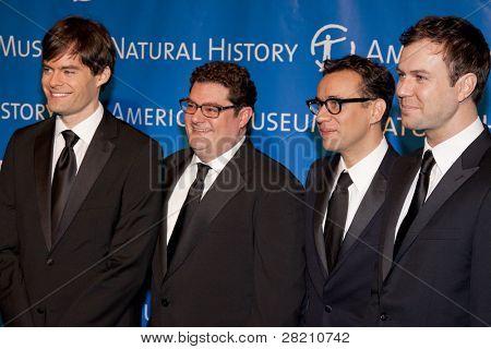 NEW YORK - NOV 10: Bill Hader, Bobby Moynihan, Fred Armisen, and Taran Killam attend the American Museum of Natural History's  2011 Gala on November 10, 2011 in New York City, NY.