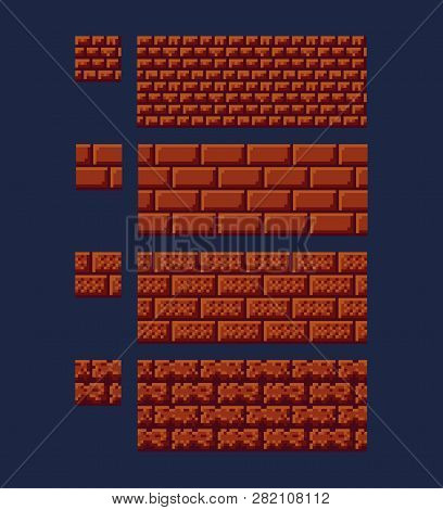 Vector Illustration - Set Of 8 Bit 16x16 Red Brick Texture. Pixel Art Style Game Background Seamless