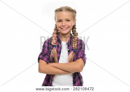 Child Little Girl Colorful Braids Fashionable Hairstyle Isolated White. Teenage Fashion Concept. Fas