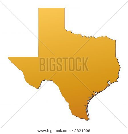 Texas (USA) map filled with orange gradient. Mercator projection. poster