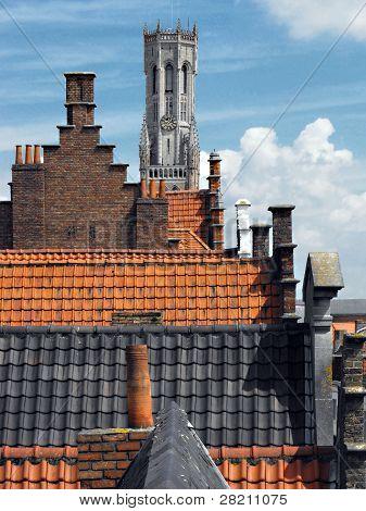 Rooftops in Bruges, Belgium