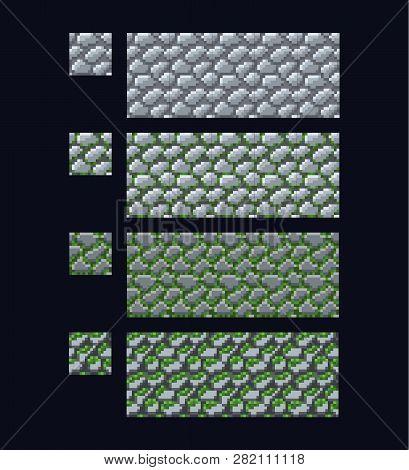 Vector Illustration - Set Of 8 Bit 16x16 Stone Brick Texture. Pixel Art Style Game Background Seamle