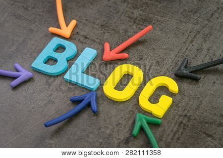 Colorful Arrows Pointing To The Word Blog At The Center Of Black Chalkboard Wall, Blog, Web Logs Onl