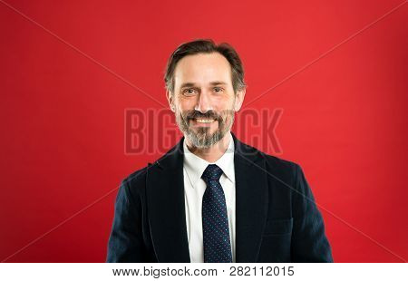 Man Handsome Mature Fashion Model Wear Fashionable Suit On Red Background. Suit Imbue Sense Of Confi