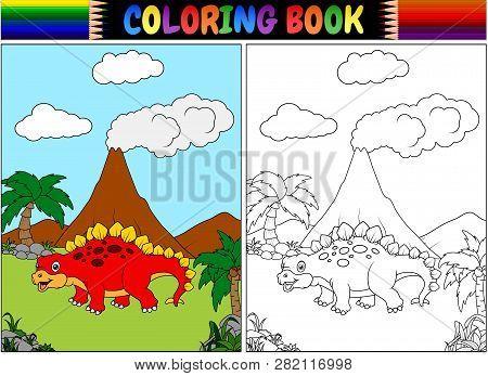 Coloring Book With Cartoon Of Stegosaurus Illustration