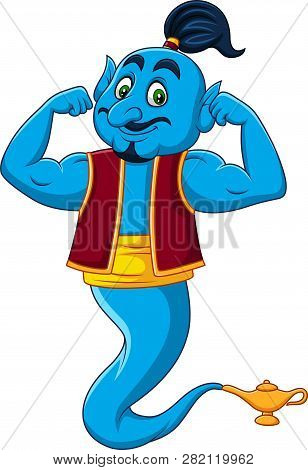 Vector Illustration Of Cartoon Strong Genie Isolated On White Background