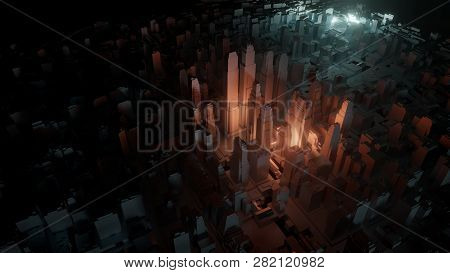 3d City With Bright Flashes On A Dark Background. Architectural Concept, Urban Technology. 3d Illust