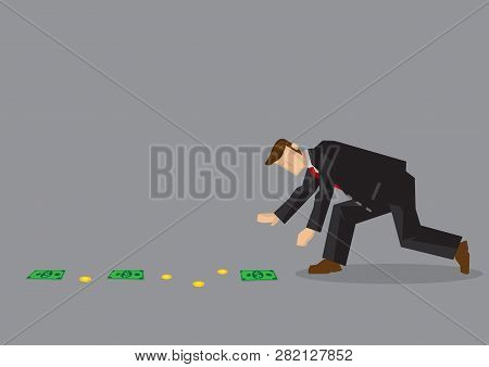 Cartoon Man Wearing Suit Bends Over To Pick Up Money Lying On The Ground. Vector Illustration On Fin