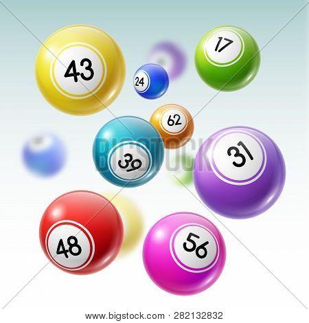 Numbered Balls Of Lottery Gambling Games 3d Vector Illustration. Lotto, Bingo Or Keno Balls Falling