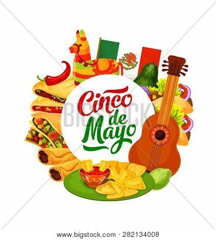 Cinco De Mayo Traditional Fiesta Party Celebration. Vector Mexico Flag With Cinco De Mayo Food Burri