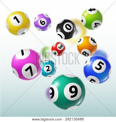 Lottery Balls 3d Vector Of Bingo, Lotto Or Keno Gambling Games. Colourful Spheres With Numbers Of Wi