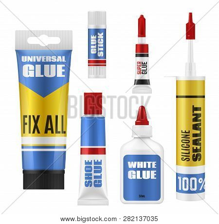 Glue Stick, Tube And Bottle Packages Vector Mockup. Super Glue, Shoes Repair And Universal Adhesives