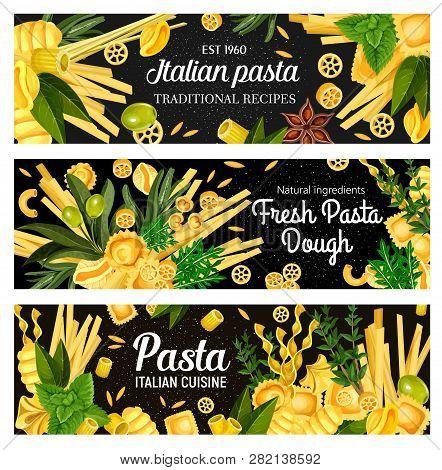 Italian Pasta, Vector On Black. Spaghetti And Ravioli, Chifferi And Alluovo, Orzo And Tortelloni, Ma