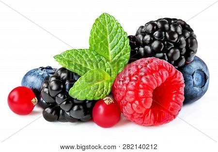 Berries Mix Isolated On White Background. Raspberry, Red Currant,  Blueberry And Black Berry With Le