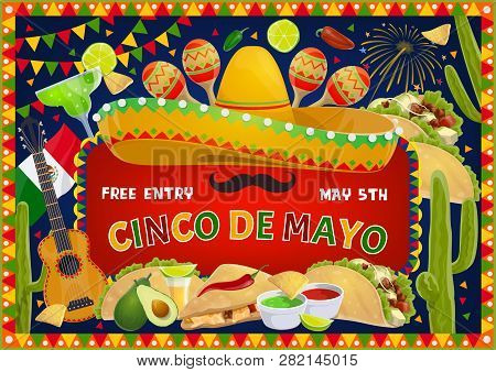 Cinco De Mayo Greeting And Fiesta Fireworks In Bunting Flags Frame. Vector Cinco De Mayo Mexican Hol