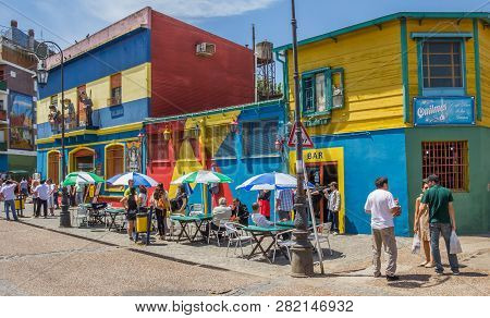 Buenos Aires, Argentina - November 4, 2012: People On The The Colorful Streets Of La Boca Neighborho