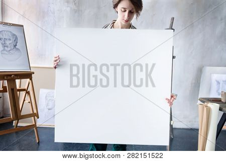 Young Beautiful Smiling Artist Teacher Student Woman Girl Boy In Modern Art Workshop Studio Surround
