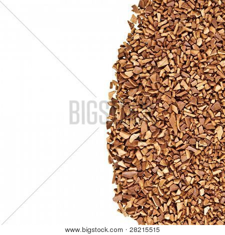 border of granulated coffee on the white background