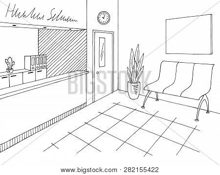 Hospital Reception Graphic Black White Lobby Interior Sketch Illustration Vector
