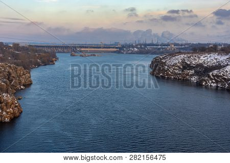 View On Hydroelectric Station Dam (largest Hydroelectric Power Station On The Dnipro River) And Indu