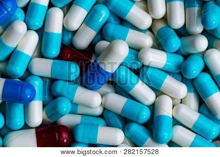 Pile Of Antibiotic Capsule Pills. Antibiotics Drug Resistance. Drug Use With Reasonable. Global Heal