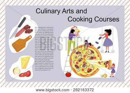 Culinary Art And Cooking Courses Poster, Banner Template. Happy Family Cooking Together A Pizza Conc