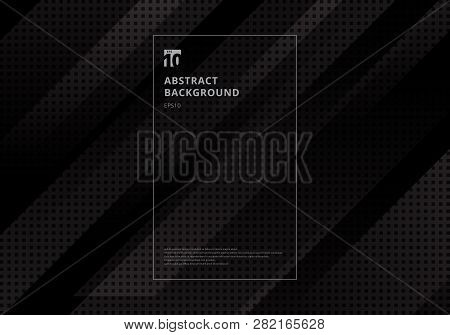 Abstract Technology Geometric Diagonal With Squares Pattern Texture Black Background. Vector Illustr