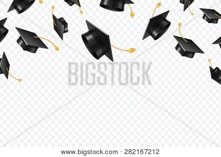 Graduate Caps Flying. Black Academic Hats In Air. Education Isolated Vector Concept. Finish College