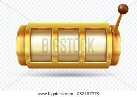 Slot Machine. Jackpot Poker 777 Golden Slot Machine. Gambling Gold Prize Fortune Vector Concept. Ill