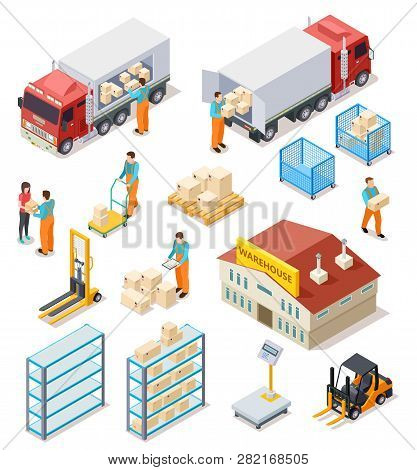 Delivery Isometric. Logistic, Distribution Warehouse, Truck With People Workers Carrying Boxes Packa