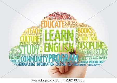 Learn English Word Cloud Collage With Marker, Education Concept Background