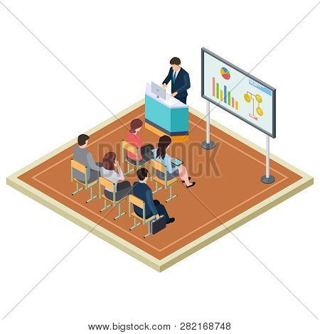Business Training Or Presentation Isometric Vector Concept. Illustration Of Presentation Meeting And