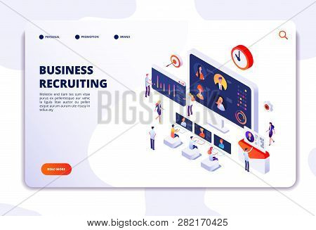 Recruitment Landing Page. Businessmen Have Interview In Office. Hr Employment Agency, Online Recruit