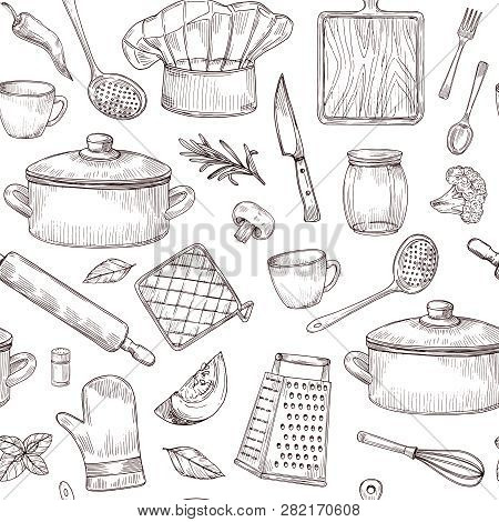 Kitchen Tools Seamless Pattern. Sketch Cooking Utensils Hand Drawn Kitchenware. Engraved Kitchen Ele