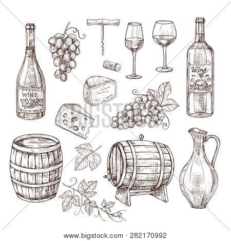 Sketch Wine Set. Grape, Wine Bottles And Wineglass, Barrel. Hand Drawn Vintage Alcoholic Beverages V