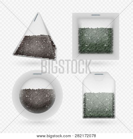 Vector Tea Bags With Black And Green Brewing Tea Isolated On Transparent Background. Set Of Teabag F