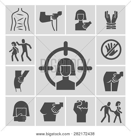 Stop Violence, Sexual Abuse, Harassment Vector Icons Set. Violence And Abuse, Harassment And Sexual