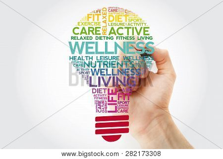 Wellness Bulb Word Cloud Collage With Marker, Health Concept Background