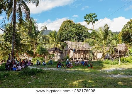 Maroantsetra, Madagascar - November 23 2016: Malagasy Peoples, Woman, Mens And Childrens Enjoing At