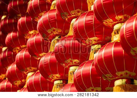 Group Of Red Chinese Lanterns Close-up View For The Chinese New Year
