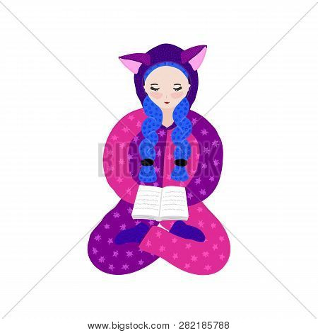 Girl In Kigurumi Pajama Reading Book. Hand Drawn Cute Cartoon Character In Jumpsuit With Ears. Pasti