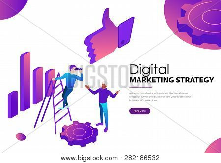 Digital Marketing Strategy Landing Webpage With Diagram