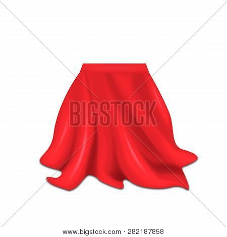 Realistic Box Covered With Red Silk Cloth Isolated On White Background. Vector Illustration.