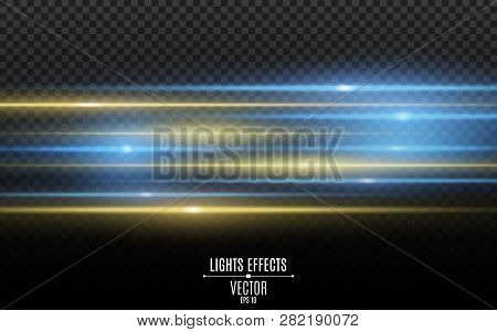 Light Effect. Abstract Yellow Blue Laser Beams Of Light. Chaotic Neon Rays Of Light. Isolated On Tra