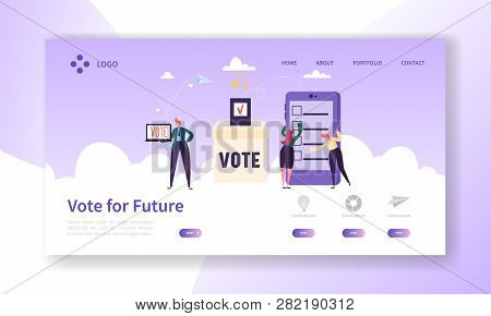 Online E-voting Registration Concept Landing Page. Man Voting In Democracy Government Electronic Ele