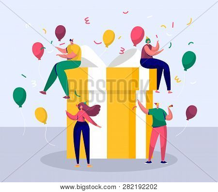 Happy Birthday Party Celebration With Friend. Gift Design For Christmas Greeting Event. Company Frie