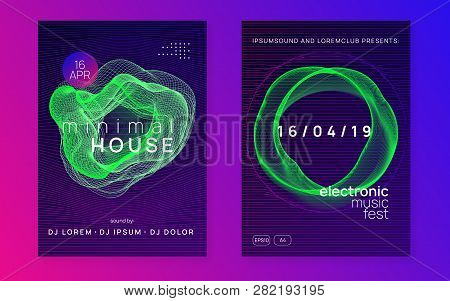 Trance party. Dynamic gradient shape and line. Bright discotheque banner set. Neon trance party flyer. Electro dance music. Electronic sound. Club dj poster. Techno fest event. poster