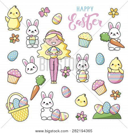 Set Of Cute Kawaii Easter Cartoon Characters With Lettering. Easter Bunny, Chick, Flower, Girl And B