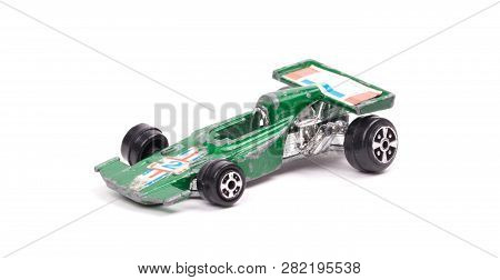 Green Metal Toy Car, Racecar, Isolated On White