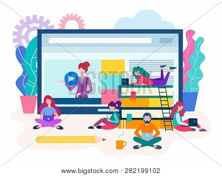 Webinar, Online Lesson, A Group Of Students Preparing For Exams With The Help Of Online Seminars And